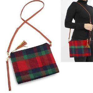 BEST OF EVERYTHING flannel plaid crossbody purse